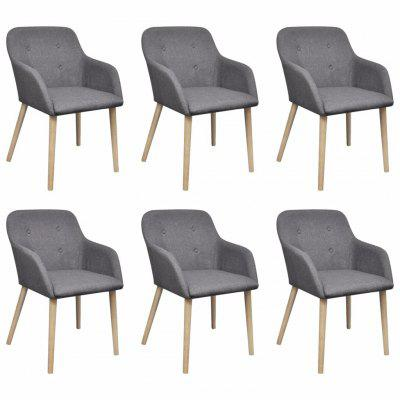 Oak Indoor Fabric Dining Chair Set 6 pcs with Armrest Dark Grey