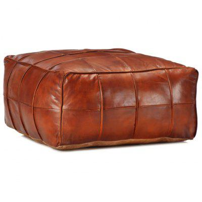 Pouffe Tan 60x60x30 cm Genuine Goat Leather