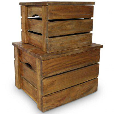 Storage Crate Set 2 Pieces Solid Reclaimed Wood