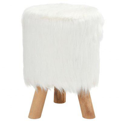 Stool Faux Fur Round 28x40 cm White