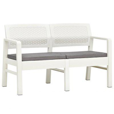 2Seater Garden Bench with Cushions 120 cm Plastic White