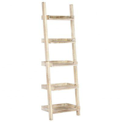 Ladder Shelf White 75x37x205 cm Solid Mango Wood