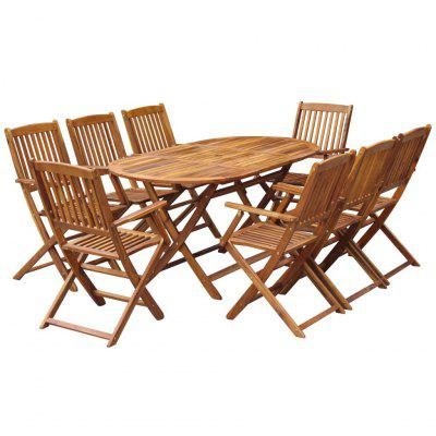 9 Piece Folding Outdoor Dining Set Solid Acacia Wood