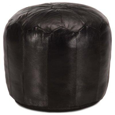 Pouffe Dark Brown 40x35 cm Genuine Goat Leather