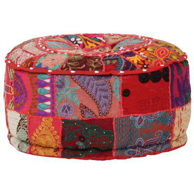 Patchwork Pouffe Round Cotton Handmade 40x20 cm Red