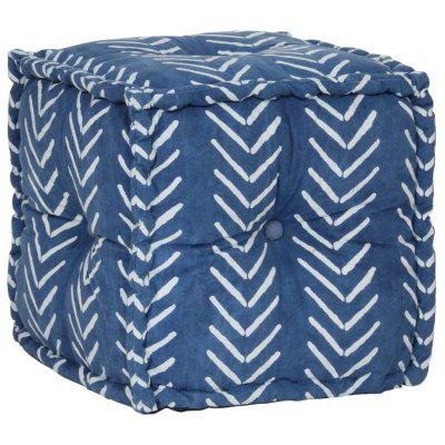 Pouffe  Cube Cotton with Pattern Handmade 40x40 cm Indigo