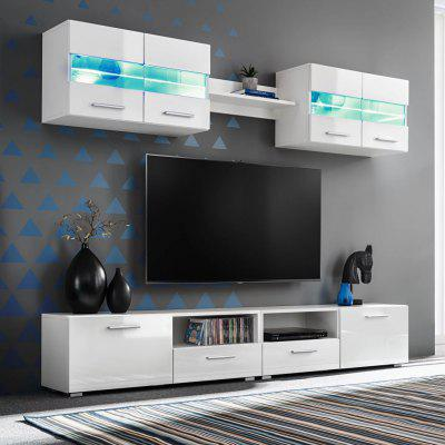 TV  Wall Unit Set 5 Pieces with LED Lights High Gloss White