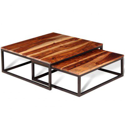 Two Piece Coffee Table Set  Solid Acacia Wood