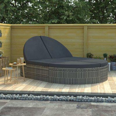 2Person Sun Lounger with Cushions Poly Rattan Grey