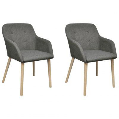 Oak Indoor Fabric Dining Chair Set 2 pcs with Armrest Dark Grey