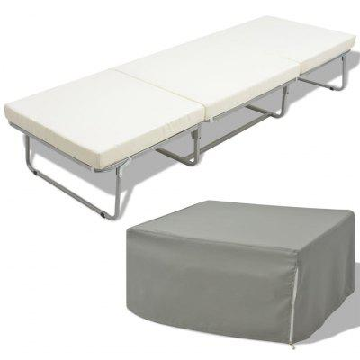 Folding Bed/Stool with Mattress Steel 200x70 cm