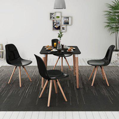 Five Piece Dining Table and Chair Set Black