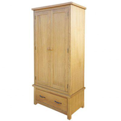 Wardrobe with 1 Drawer 90x52x183 cm Solid Oak Wood