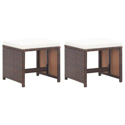 Garden Stools 2 pcs with Cushions Poly Rattan Beige