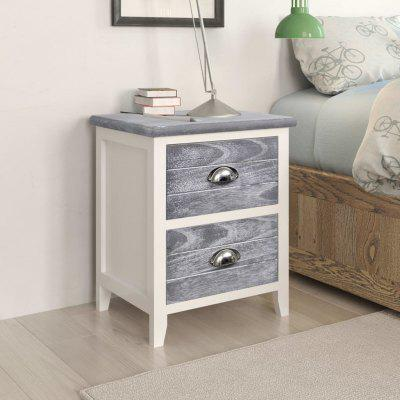 Nightstand 2 pcs with Drawers Grey and White