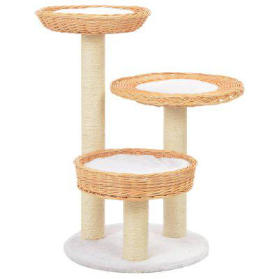 Cat Tree with Sisal Scratching Post Natural Willow Wood Brown set of 2 wooden bar chairs solid acacia wood brown
