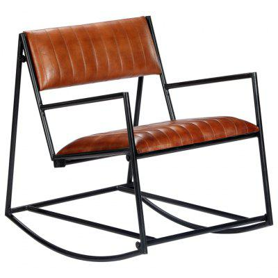 Rocking Chair Brown Real Leather