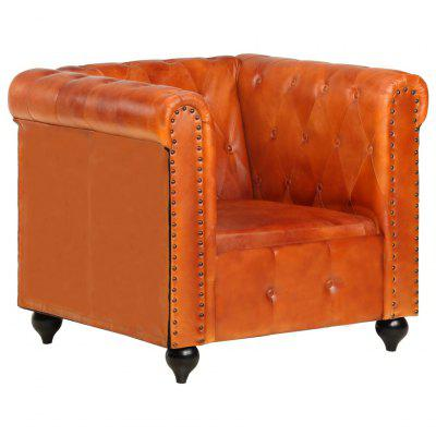 Chesterfield Armchair Black Real Leather