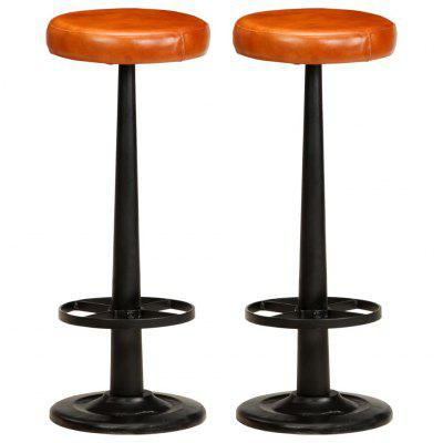 Bar Chairs 2 pcs Real Leather