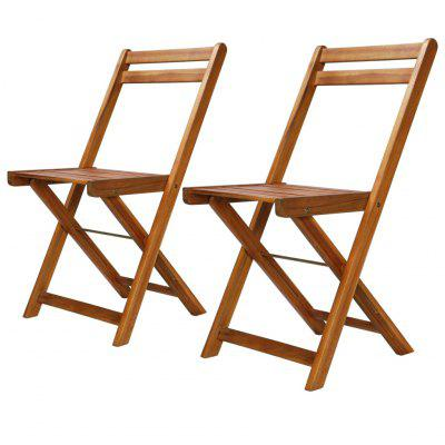 Outdoor Bistro Chairs 2 pcs Solid Acacia Wood