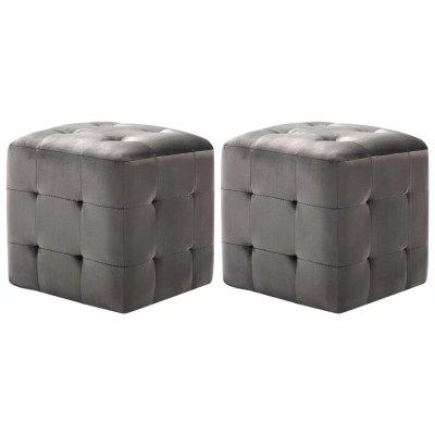 Pouffe 2 pcs Black 30x30x30 cm Velvet Fabric