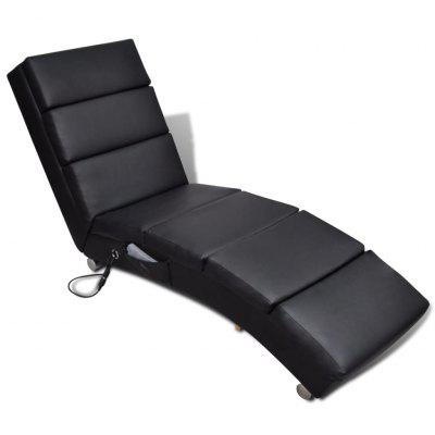 Massage Recliner Black Faux Leather
