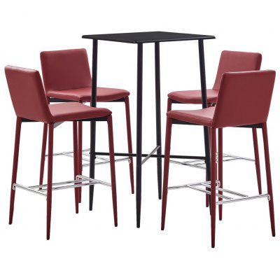 5 Piece Bar Set Faux Leather Wine Red