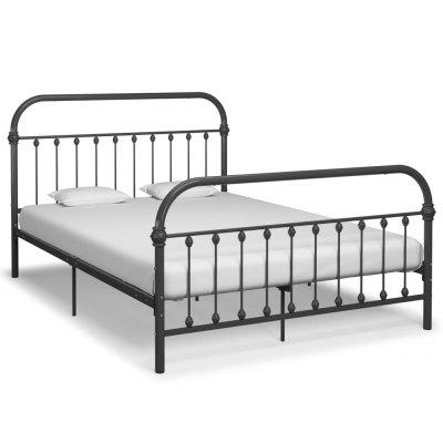 Bed Frame Grey Metal 160x200 cm