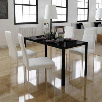 Five Piece Dining Table Set Black and White