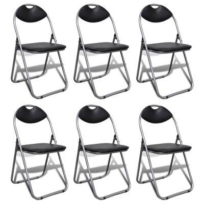 Folding Dining Chairs 6 pcs Black Faux Leather and Steel