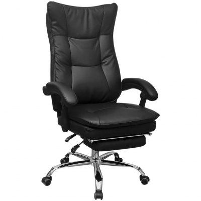 Reclining Executive Office Chair with Footrest Black