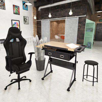 Tiltable Tabletop  Drawing Table with Office Racing Chair