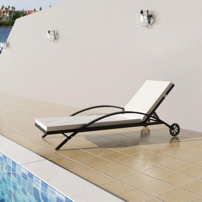 Sun Lounger with  Cushion & Wheels Poly Rattan Black