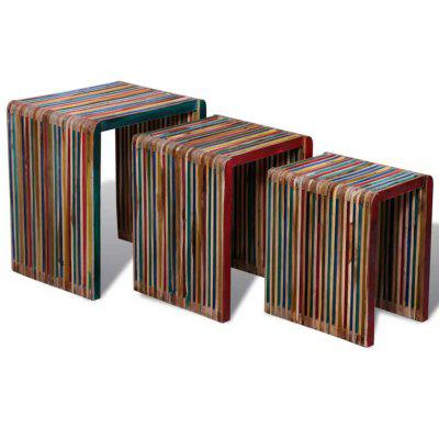 Фото - Nesting Table Set 3 Pieces Colourful Reclaimed Teak little pieces little pieces li025eghoj11