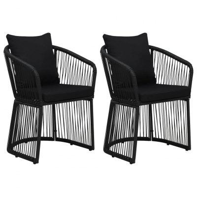 Garden Chairs 2 pcs with Cushions and Pillows PVC Rattan Black