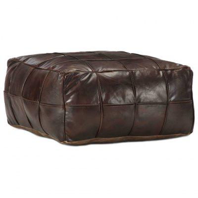 Pouffe Dark Brown 60x60x30 cm Genuine Goat Leather