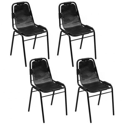 Dining Chairs 6 pcs Black 49x52x88 cm Real Leather