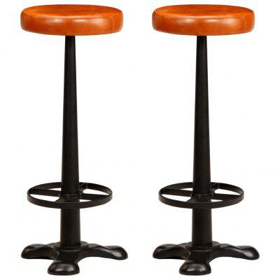 Bar Chairs 2 pcs Real Leather Brown