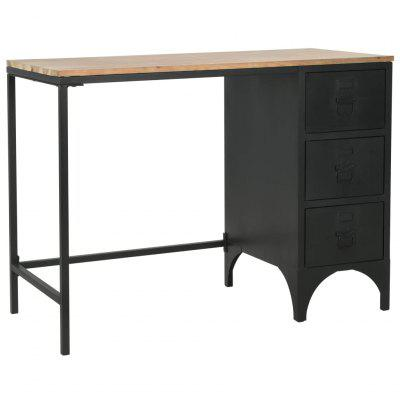 Single Pedestal Desk Solid Firwood and Steel 100x50x76 cm