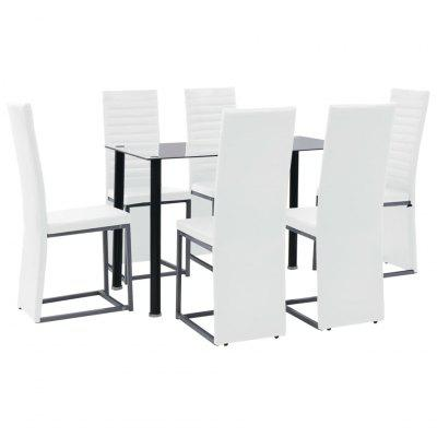 Dining Set 7 Pieces Steel and Tempered Glass Black White