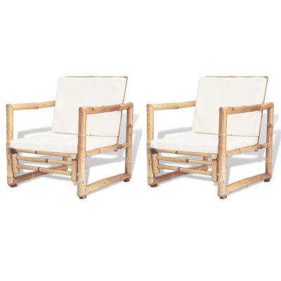 Garden Chairs 2 pcs with Cushions and Pillows Bamboo