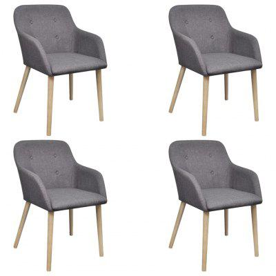 Oak Indoor Fabric Dining Chair Set 4 pcs with Armrest Dark Grey