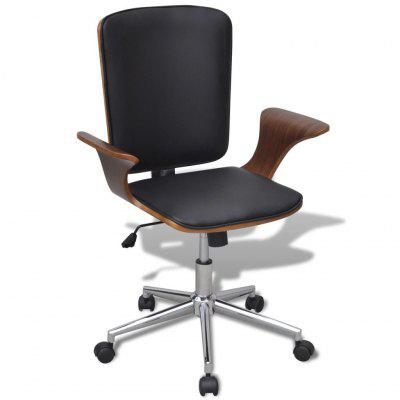 Swivel Office Chair Bentwood with Artificial Leather Upholstery
