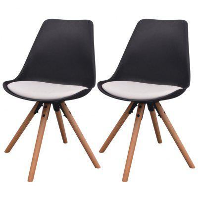 Dining Chairs 2 pcs Artificial Leather Black and White