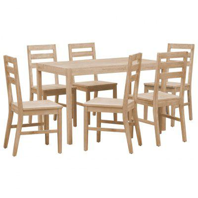 7 Piece Dining Set Solid Acacia Wood