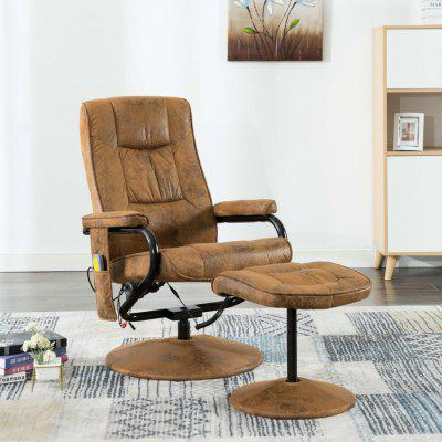 Massage Chair with Foot Stool Brown Faux Suede Leather