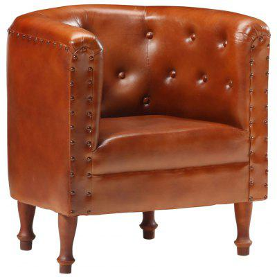 Tub Chair Black Real Leather