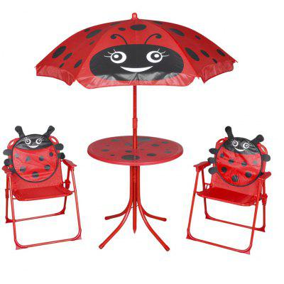 3 Piece Kids Garden Bistro Set with Parasol Brown