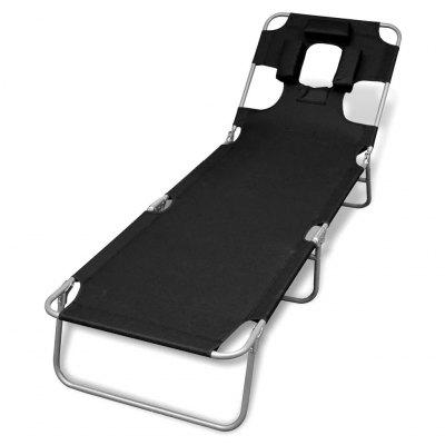 44295  Foldable Sunlounger with Head Cushion Adjustable Backrest Grey
