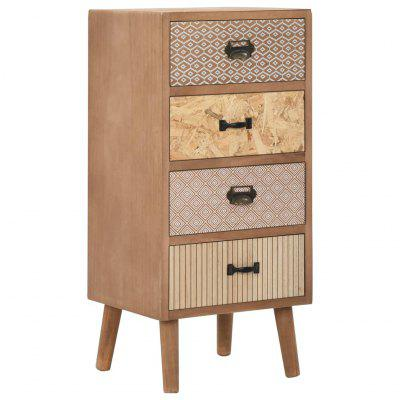 Side Cabinet with 4 Drawers Brown 35.5x30x74.5 cm MDF